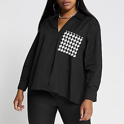 Plus black long sleeve boucle pocket shirt