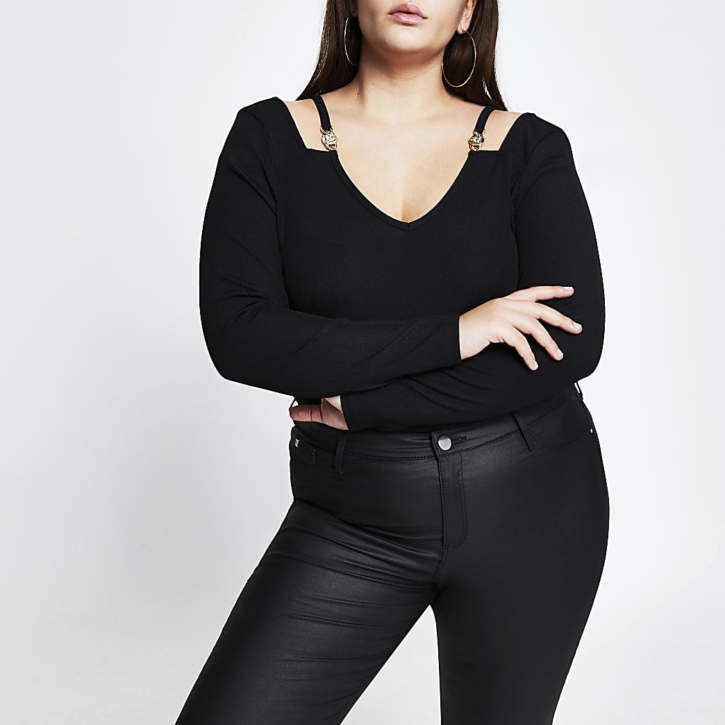 Plus black long sleeve cut out v neck top