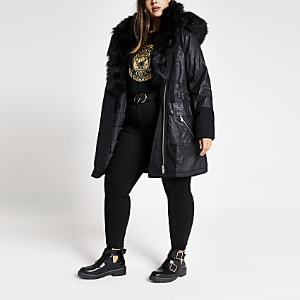 Plus black long sleeve faux fur parka coat