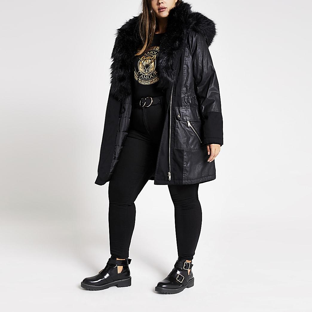 Plus black long sleeve faux fur parka coat