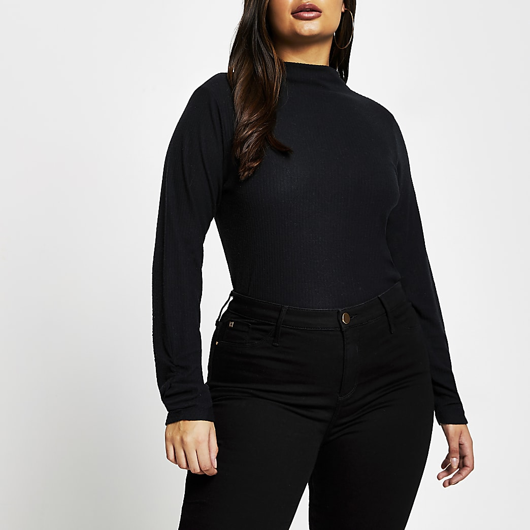 Plus black long sleeve high neck ribbed top