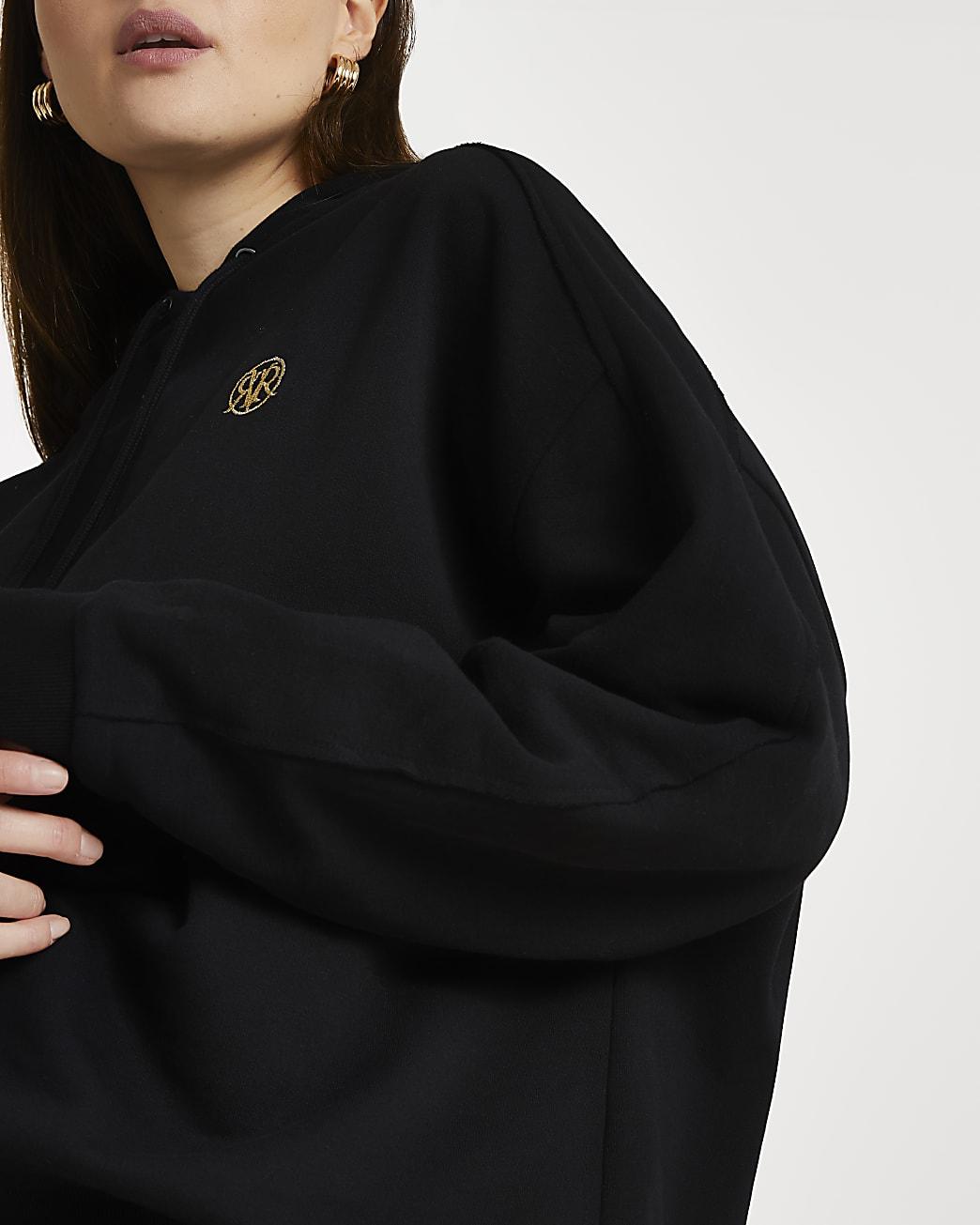 Plus black long sleeve 'RR' hoodie