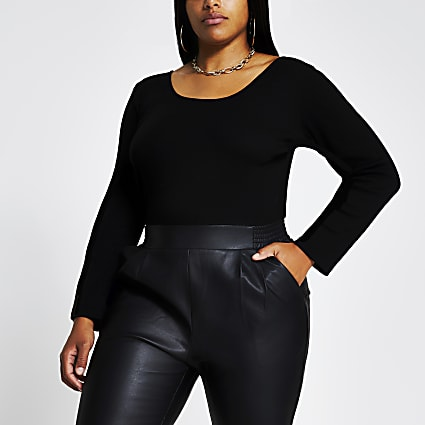 Plus black long sleeve scoop neck top