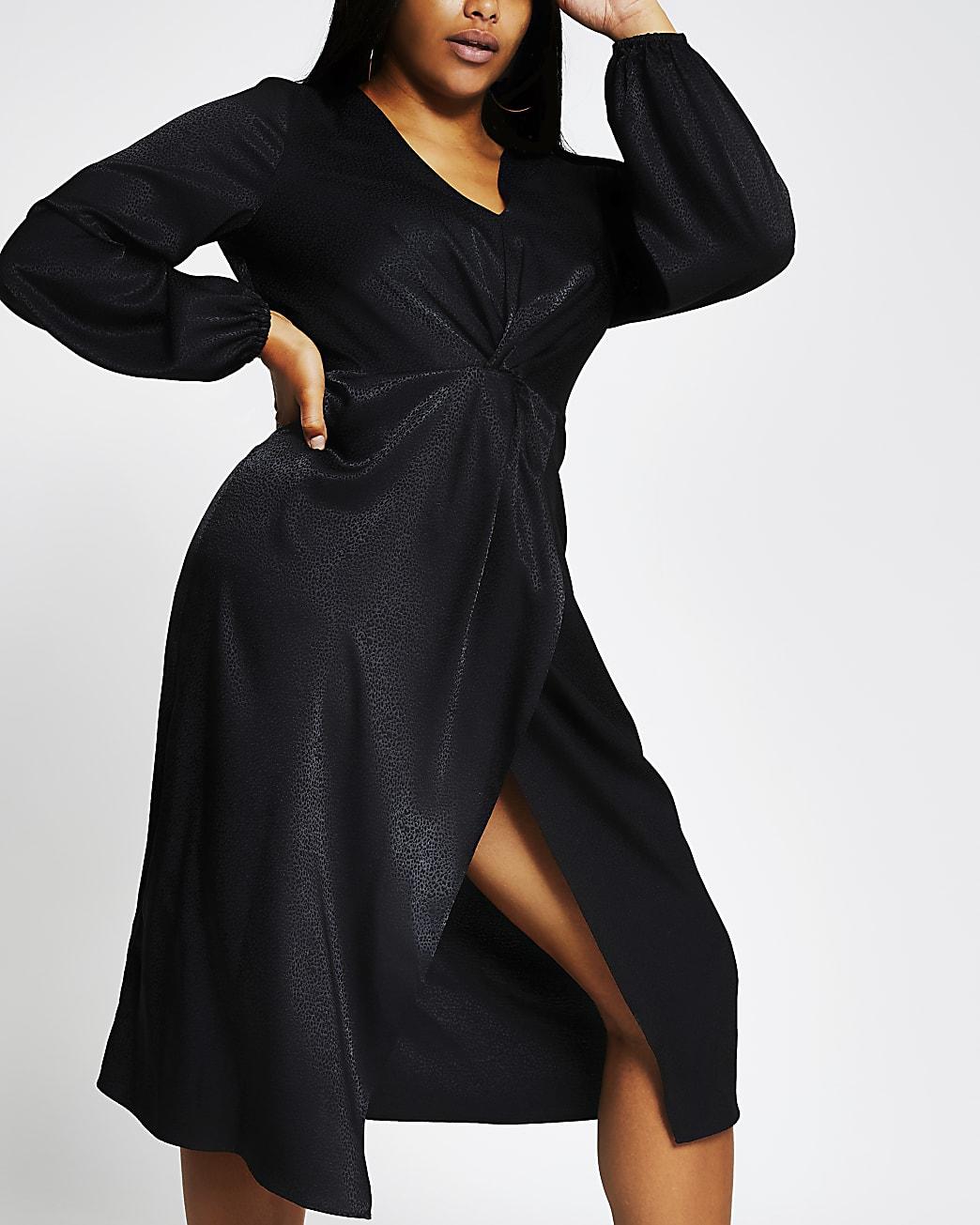 Plus black long sleeve twist wrap midi dress