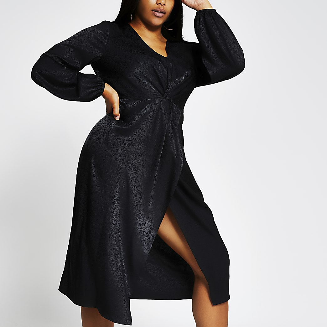 Plus black long sleeve twist wrap midi dress