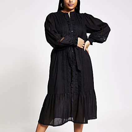 Plus black long sleeve victoriana maxi dress