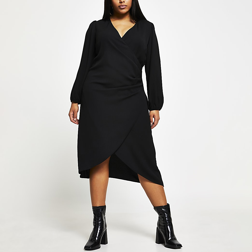 Plus Black Ls Jacquard Wrap Button Dress
