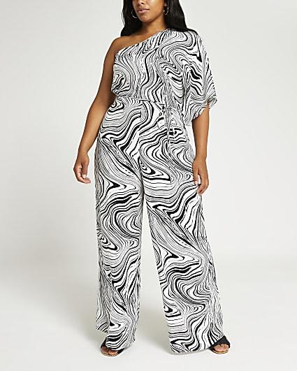 Plus black marble print wide leg jumpsuit