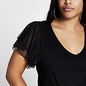 RI Plus - Zwart T-shirt met korte mesh mouwen met ruches