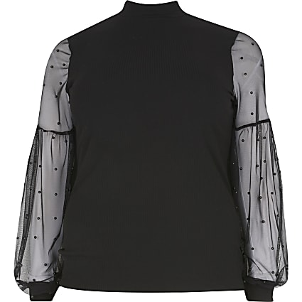 Plus black mesh pearl long sleeve top