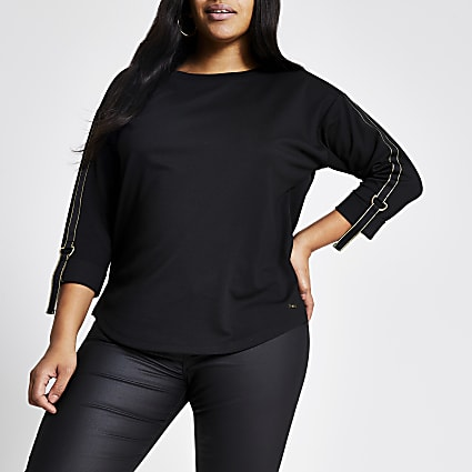 Plus black metallic tape long sleeve T-shirt