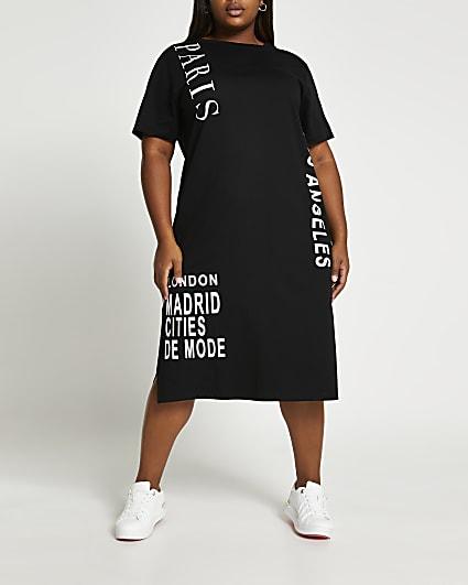 Plus black midi t-shirt dress