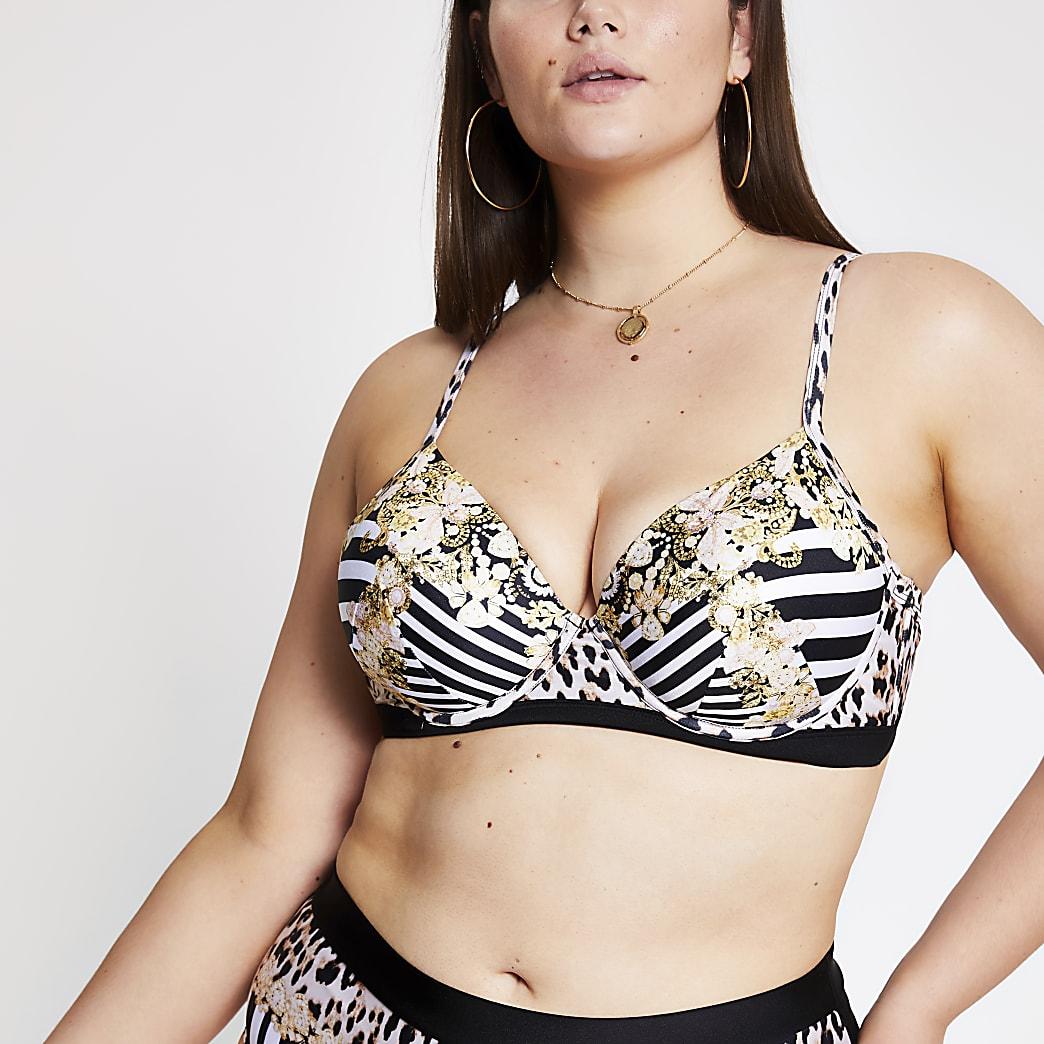 Plus – Haut de bikini à imprimé mélangé noir avec décolleté plongeant