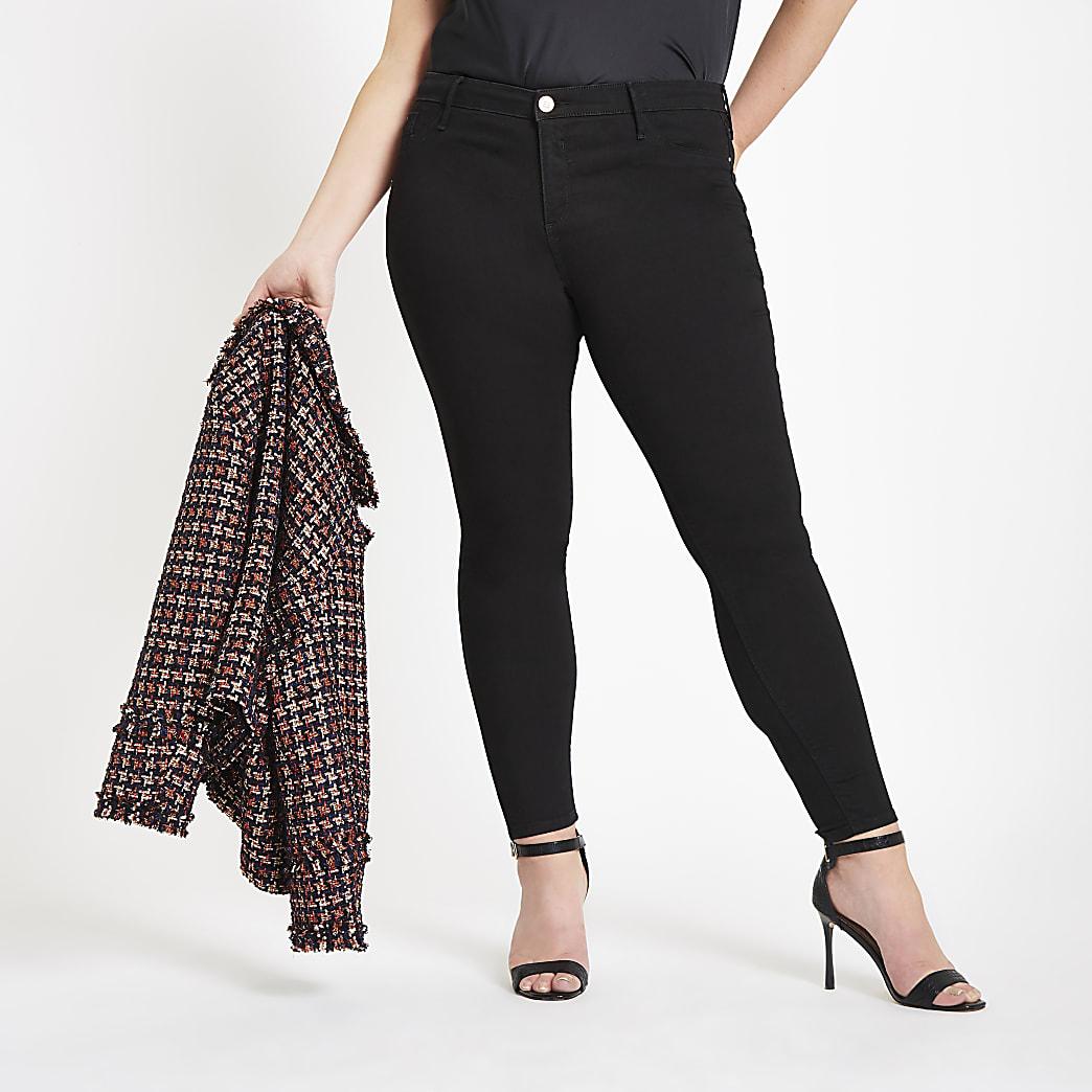 RI Plus - Zwarte Molly jeggings met halfhoge taille