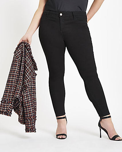 Plus black Molly mid rise skinny jeans