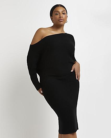 Plus black off the shoulder midi dress