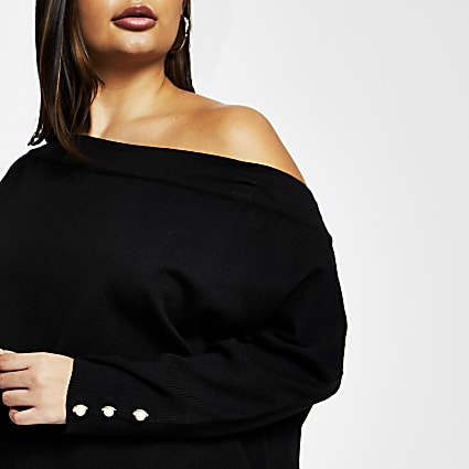 Plus black open neck asymmetric top