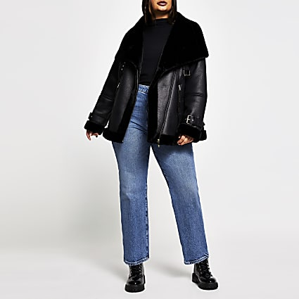 Plus black oversized shearling aviator coat