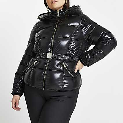 Plus black padded jacket