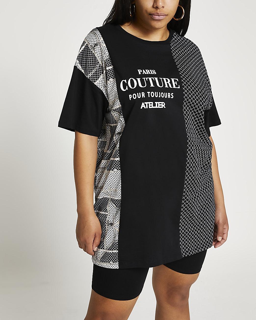 Plus black 'Paris' RI oversized t-shirt