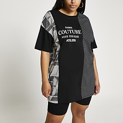 Plus black 'Paris' RI oversized t-shirt