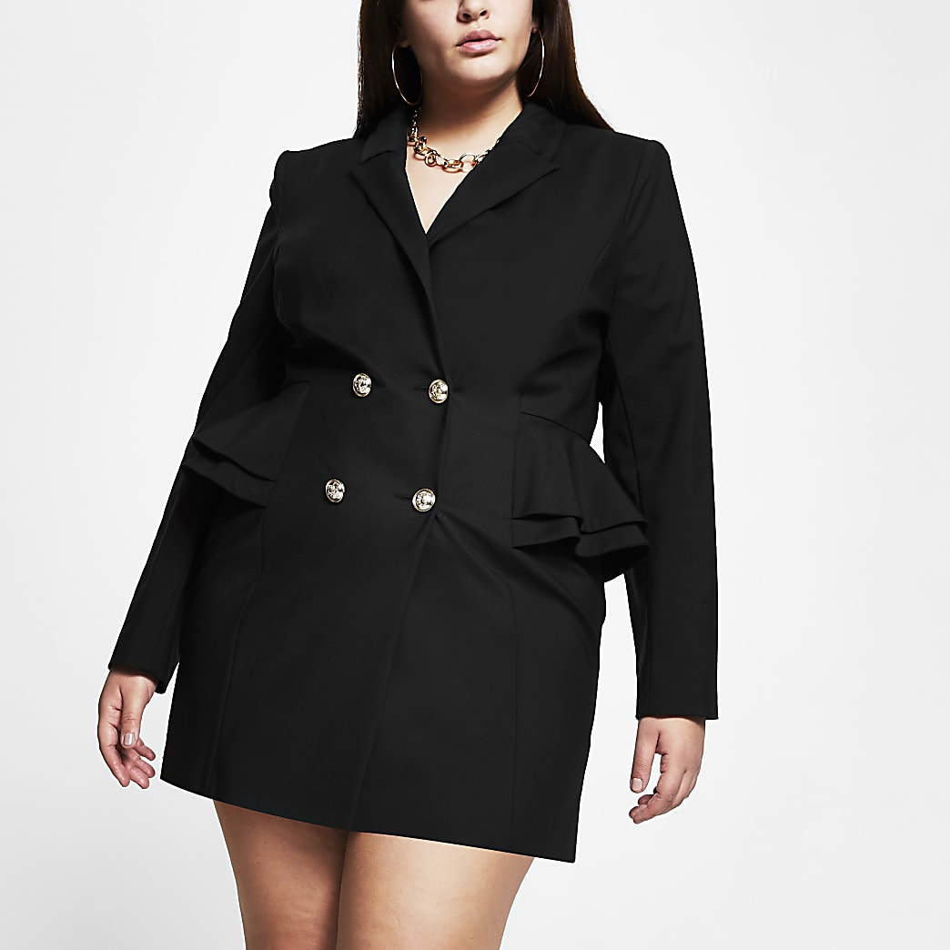 Plus black peplum blazer