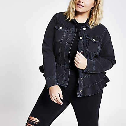 Plus black peplum frill fitted denim jacket