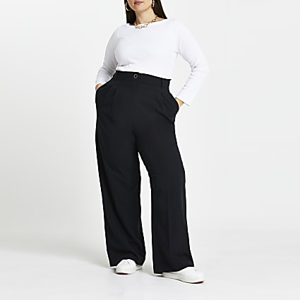 Plus black pleat straight leg trousers