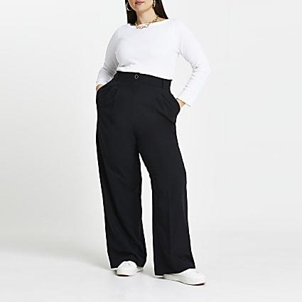 Plus black pleat straight leg trousers