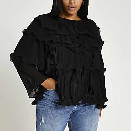 Plus black plisse long sleeve blouse top