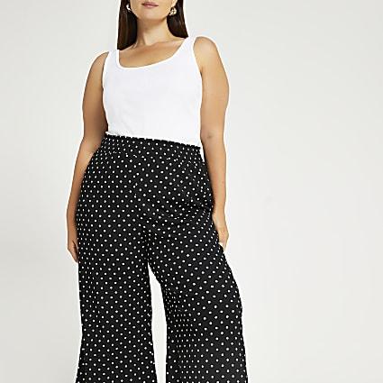 Plus black polka dot culottes
