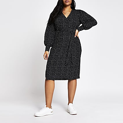 Plus black polka dot wrap midi dress