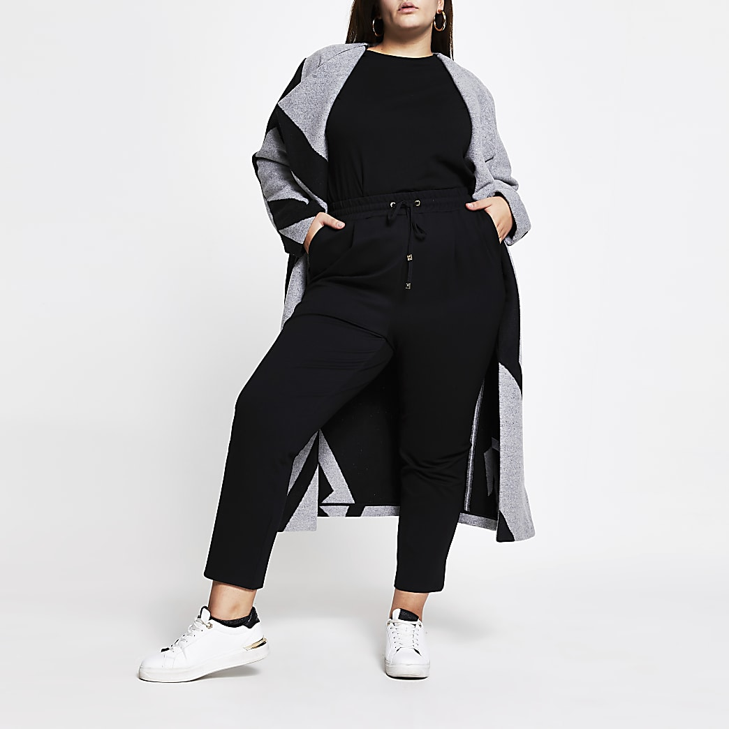 Plus black ponte pleat joggers