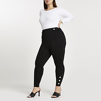 Plus black ponte popper hem leggings