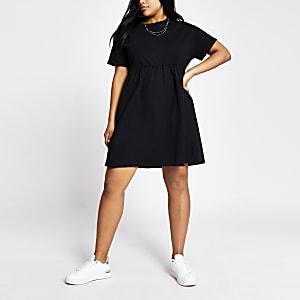 Plus– Mini robe t-shirt en popeline noire