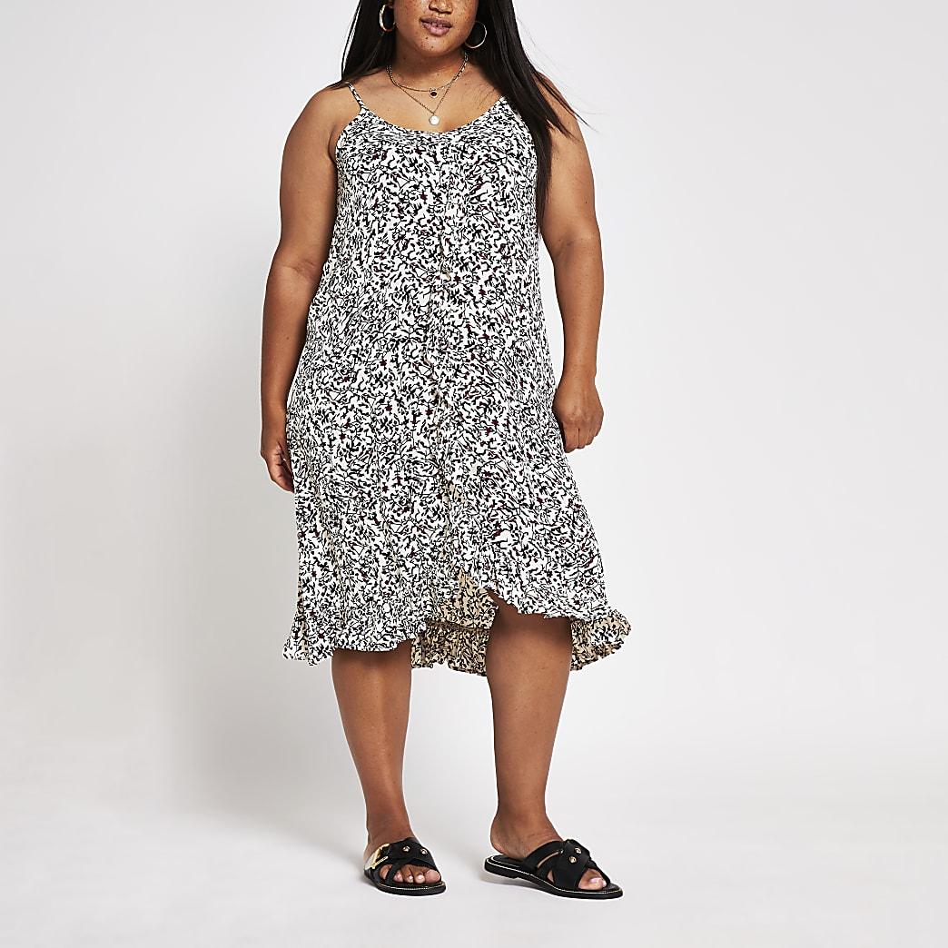 Plus black print ruffle trim slip dress