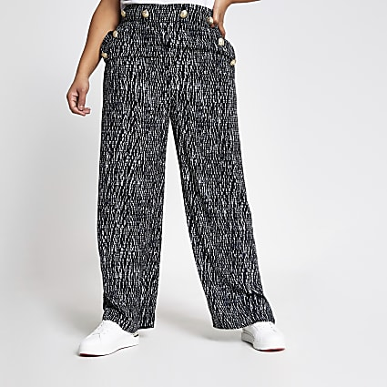 Plus black printed button wide leg trousers