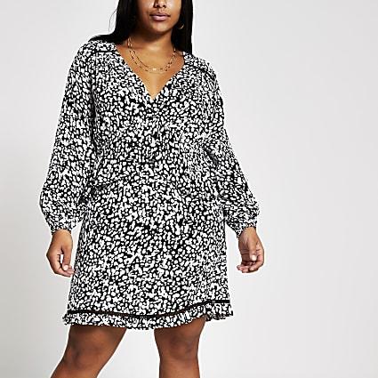 Plus black printed frill mini smock dress