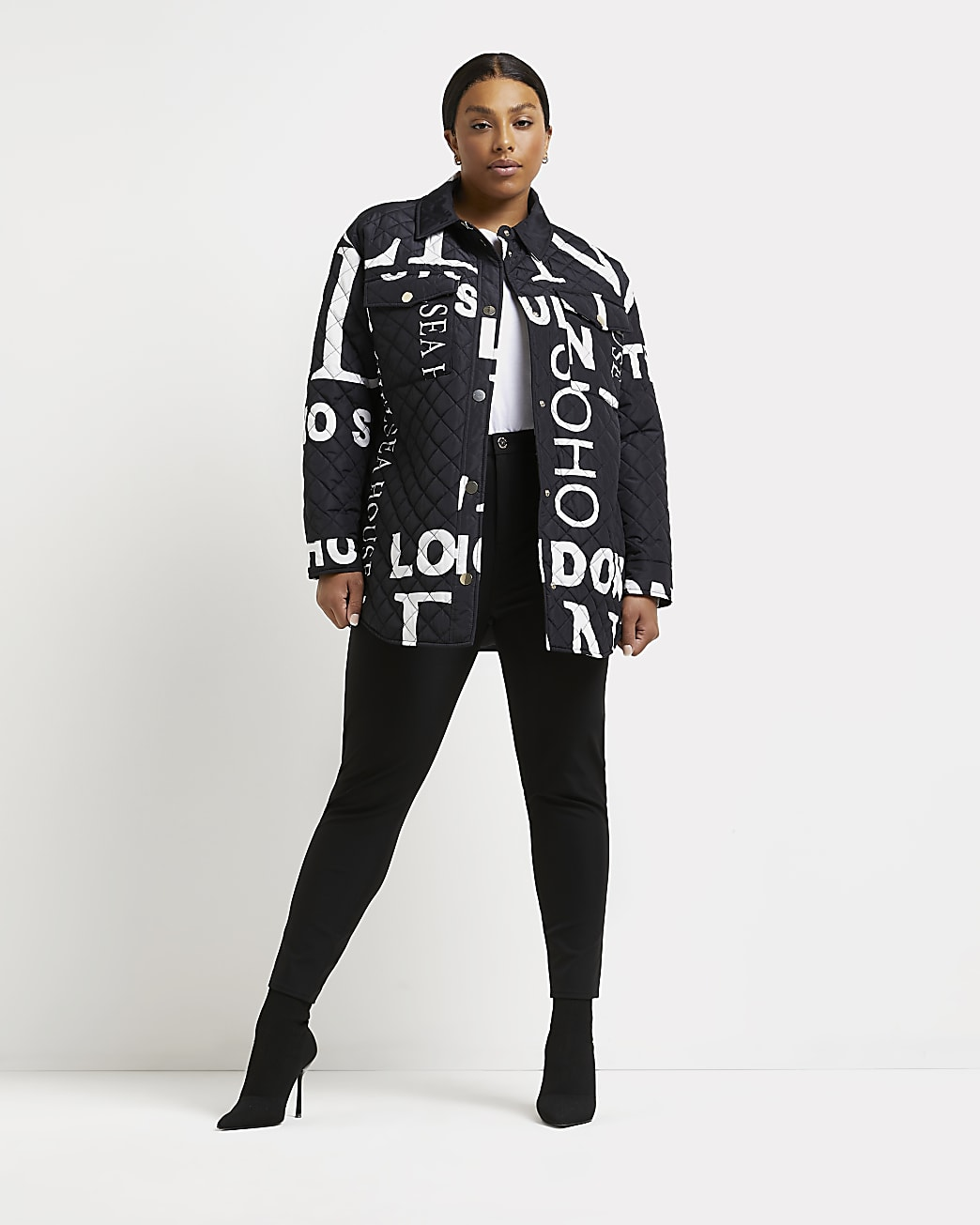 Plus black printed quilted shacket