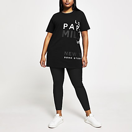 Plus black printed short sleeve t-shirt
