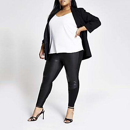 Plus black PU jersey leggings
