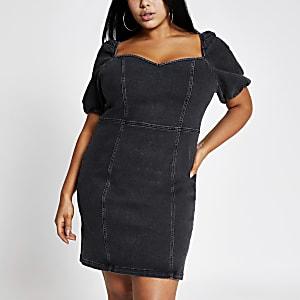 Plus black puff sleeve denim mini dress