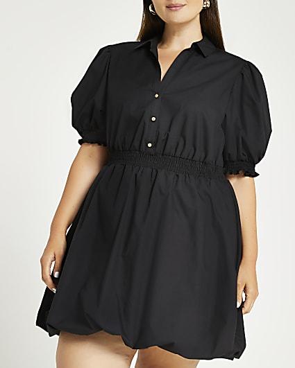 Plus black puff sleeve mini dress