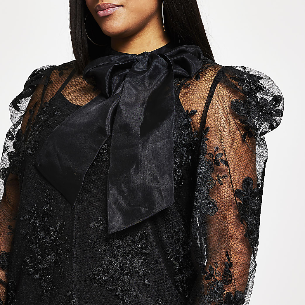 Plus black puff sleeve organza lace top
