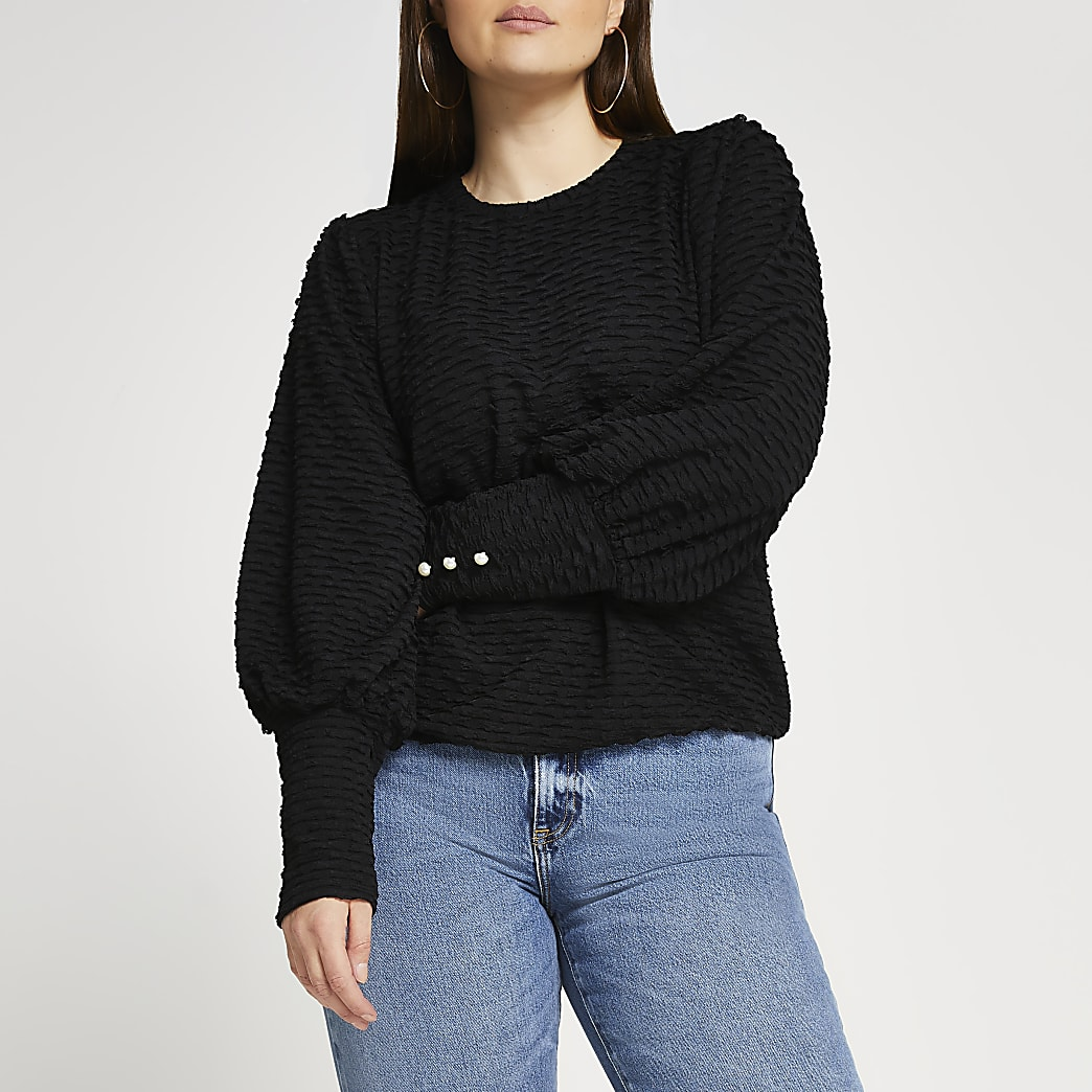 Plus black puff sleeve textured top