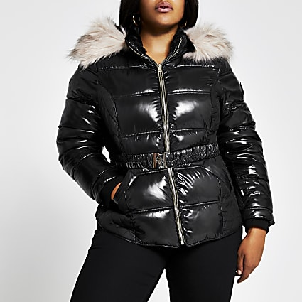 Plus Black quilted double zip padded jacket