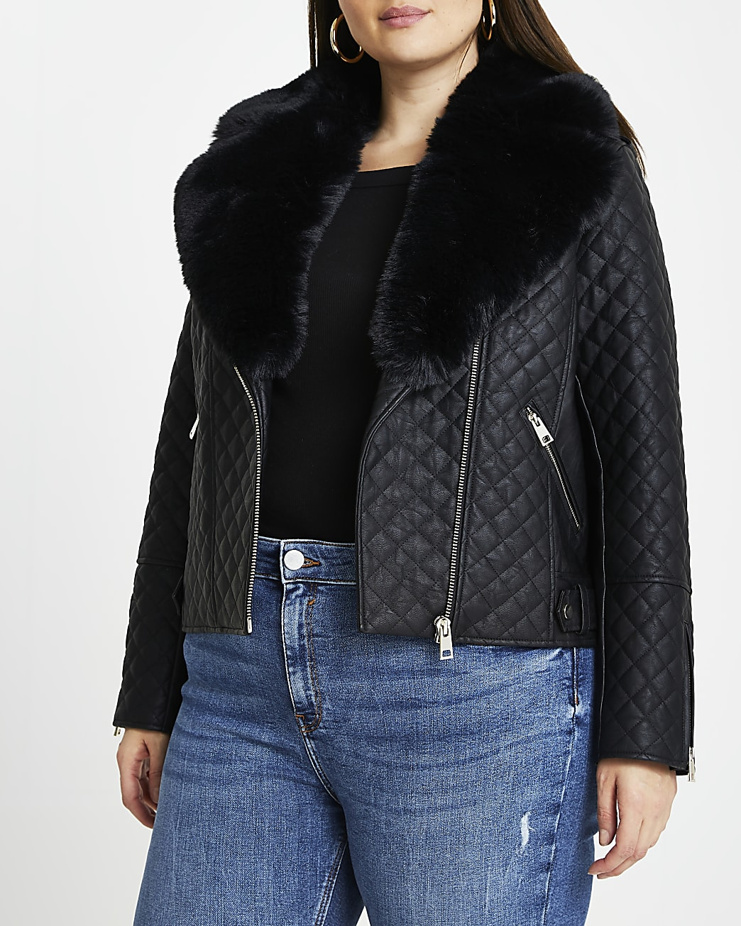 Plus black quilted faux fur biker jacket
