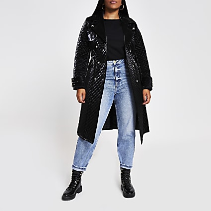 Plus black quilted faux Leather belted Coat
