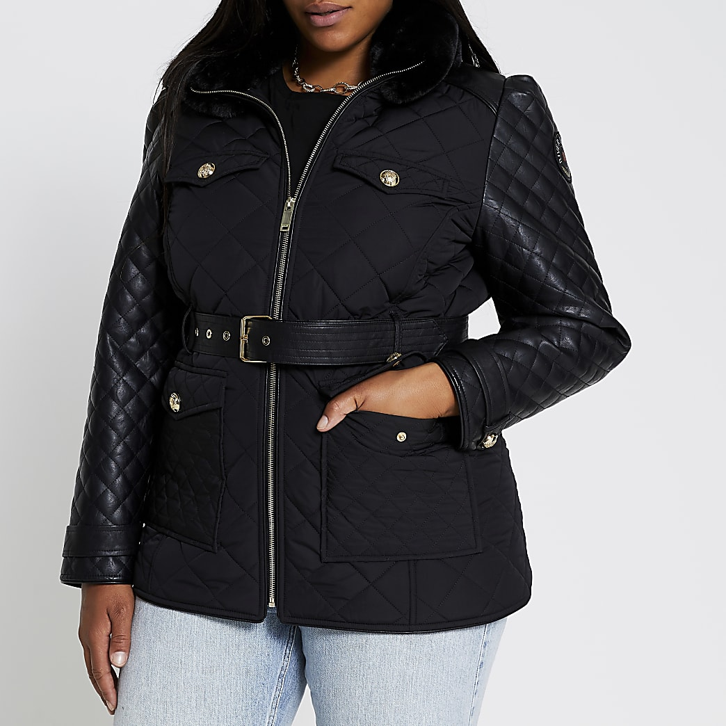 Plus Black quilted faux leather padded jacket