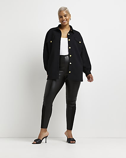 Plus black quilted shacket